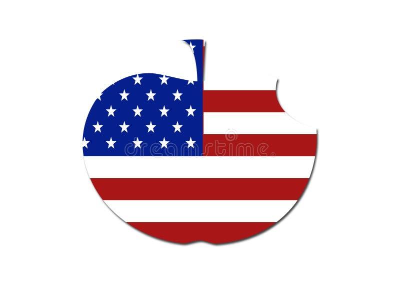 Symbole de pomme mangé par drapeau des USA illustration de vecteur