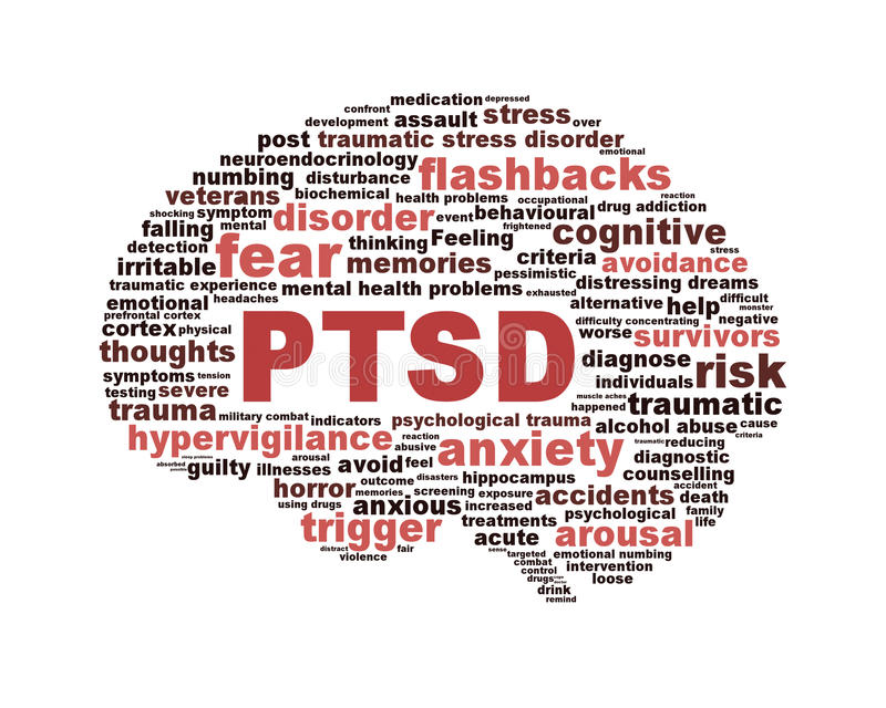 Symbole de PTSD d'isolement sur le blanc illustration stock