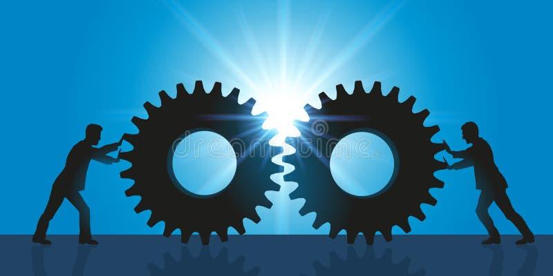 Symbole de rapprochement et d'association entre deux sociétés illustration de vecteur