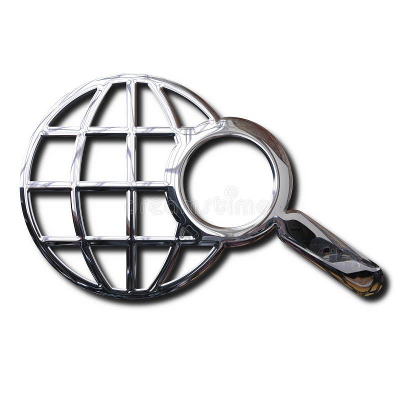 Symbole de recherche de World Wide Web de chrome photographie stock