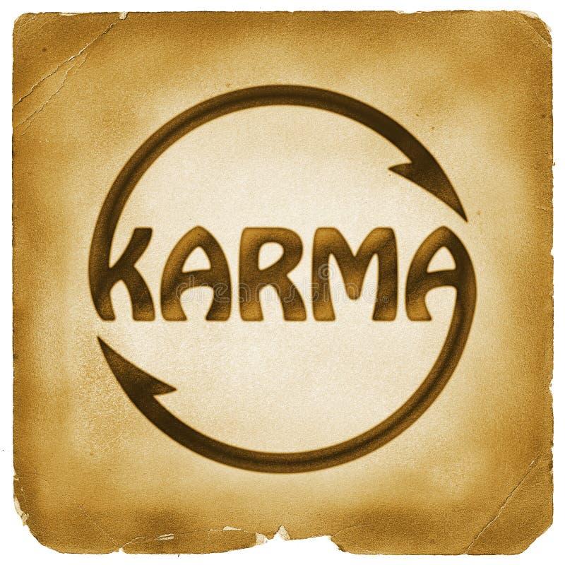 Symbole de recyclage de mot de karma sur le vieux papier illustration libre de droits