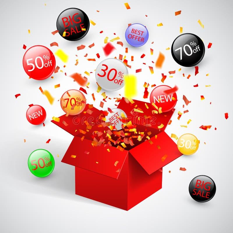Symbole de remise de vente d'offre spéciale avec les labels rouges ouverts de cadeau et d'écoulement Facile à utiliser pour votre illustration stock
