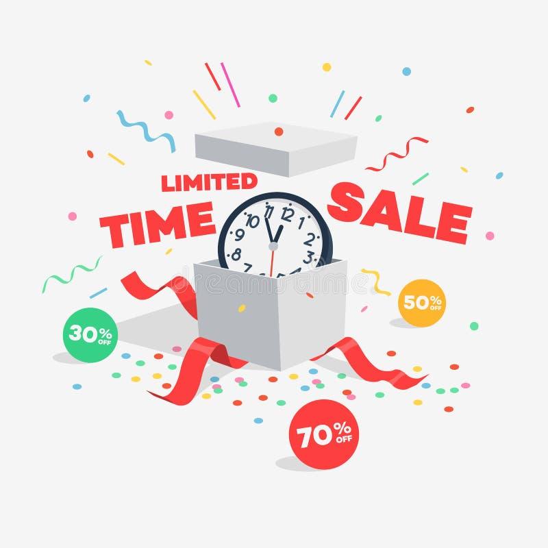 Symbole de remise de vente de temps limité avec le cadeau ouvert, l'horloge murale, les labels de remise et les confettis volants illustration libre de droits