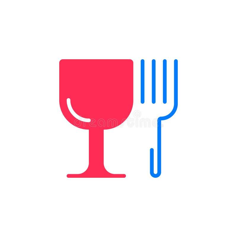 Symbole de restaurant L'icône de verre à vin et de fourchette dirigent, s plat rempli illustration stock
