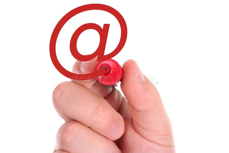 symbole de rouge de main d'email de retrait photo libre de droits