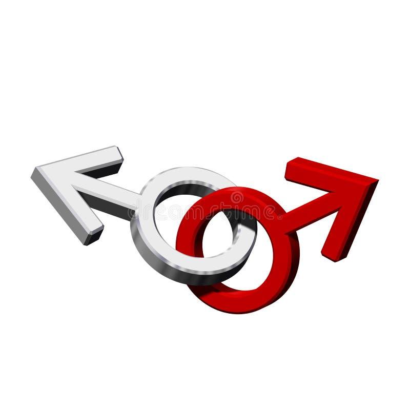 symbole de sexe homosexuel Chrome-rouge. illustration stock