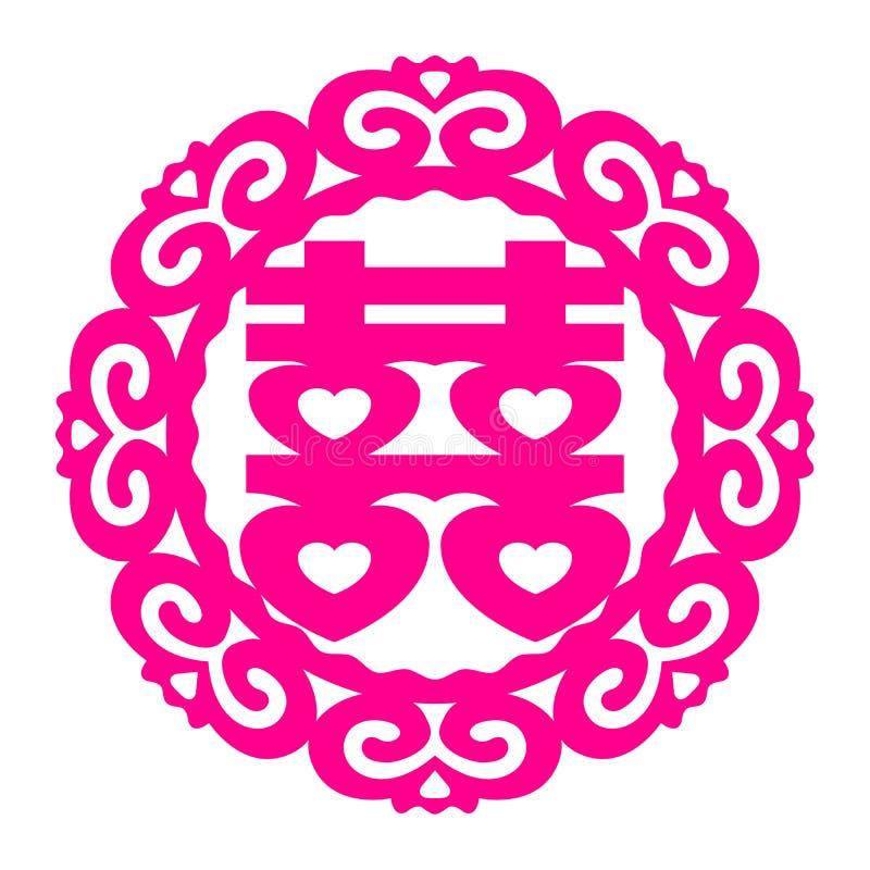 Symbole de Shuang Xi Double Happiness de Chinois de vecteur illustration de vecteur