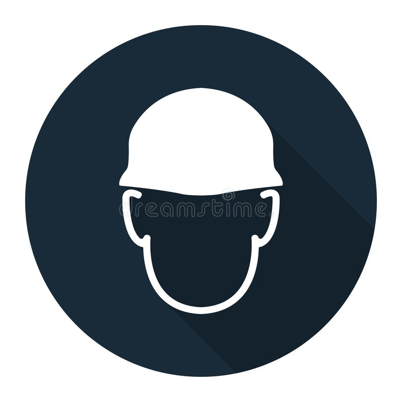 Symbole de signe de casque d'usage sur le fond noir, llustration de vecteur illustration stock