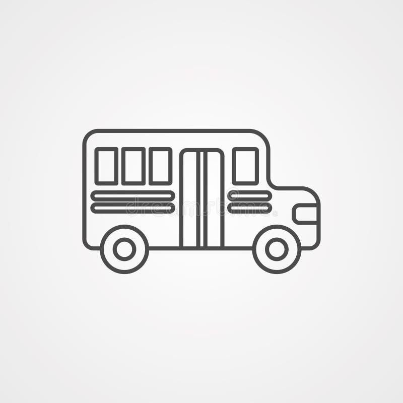 Symbole de signe d'icône de vecteur d'autobus scolaire illustration de vecteur