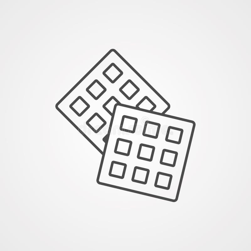 Symbole de signe d'icône de vecteur de gaufre illustration stock
