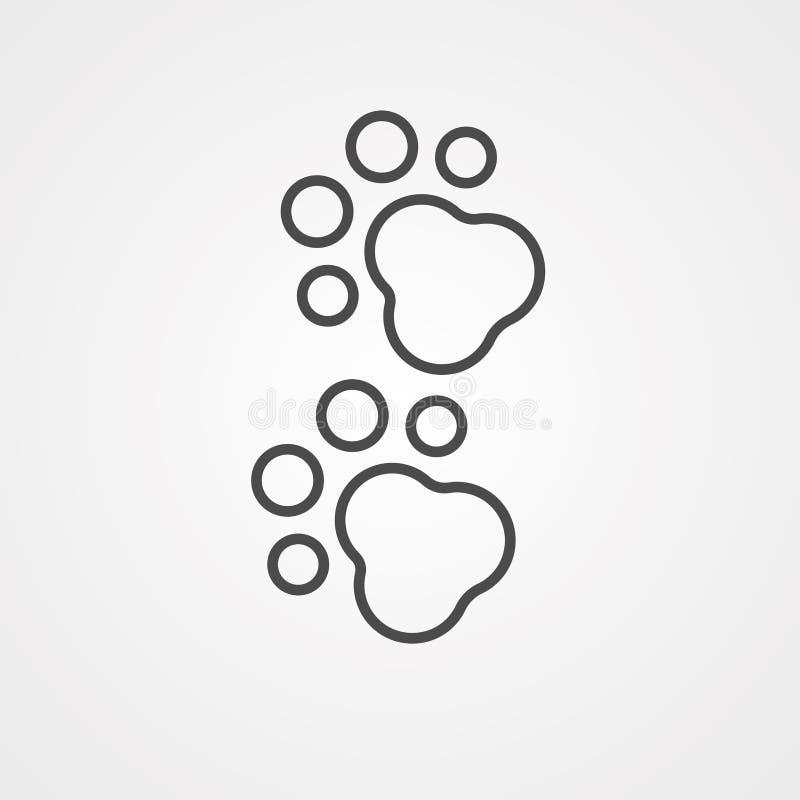 Symbole de signe d'icône de vecteur de Pawprint illustration stock