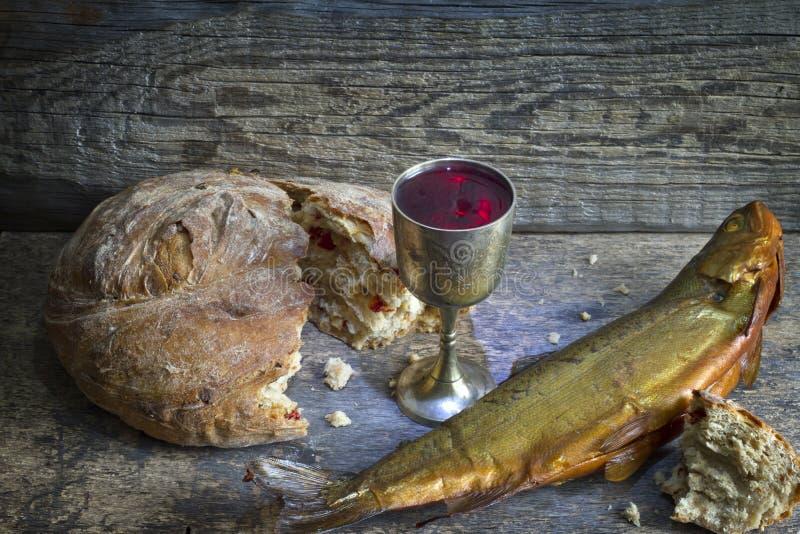 Symbole de signe de sainte communion de pain et de vin photographie stock libre de droits