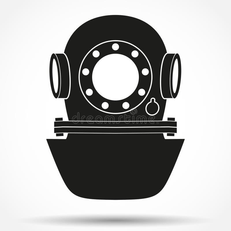Symbole de silhouette de casque sous-marin de plongée illustration de vecteur