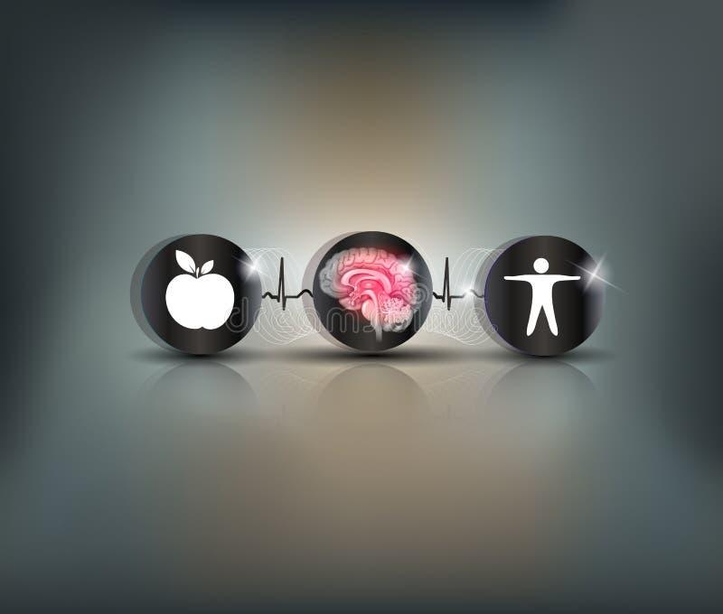 Symbole de soin de bruyère de cerveau illustration de vecteur