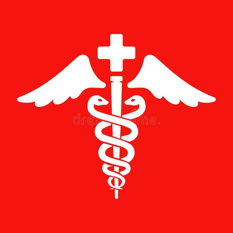 Symbole de soins de sant? deux serpents et une tige illustration de vecteur