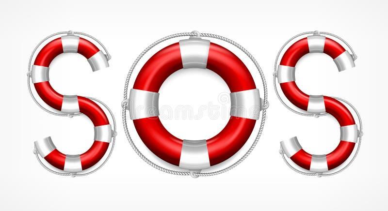 Symbole de SOS sur le blanc illustration libre de droits