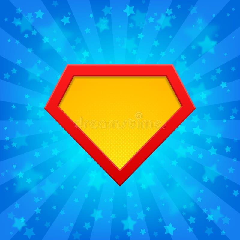 Symbole de super héros au fond lumineux illustration de vecteur