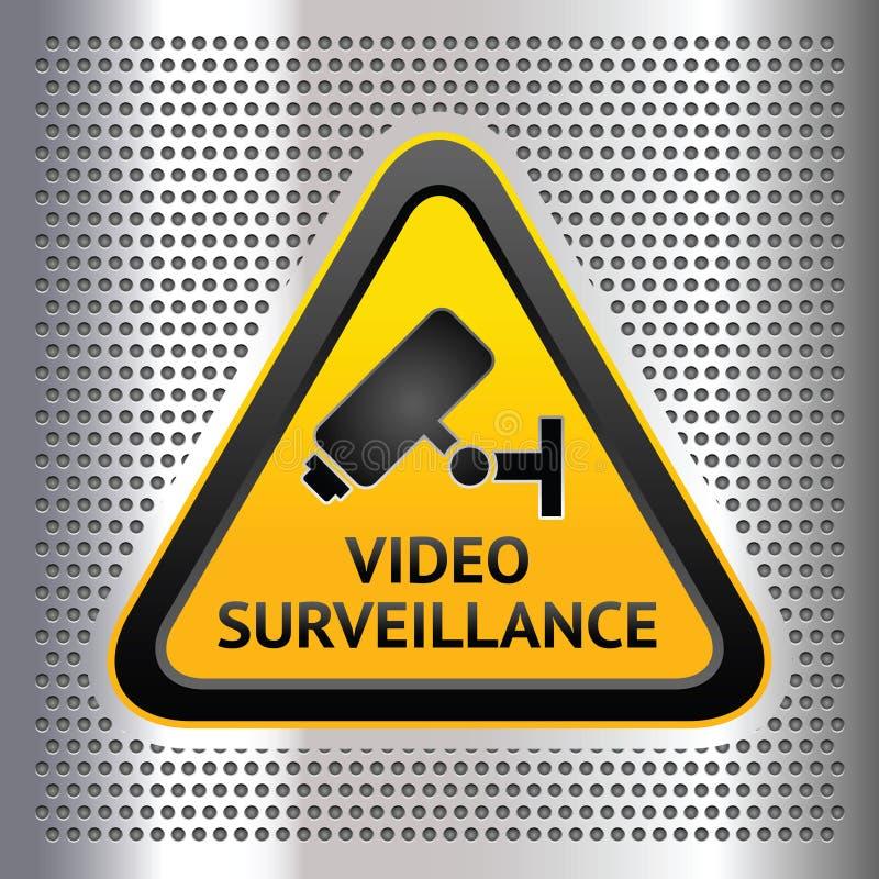 Symbole de télévision en circuit fermé, sur un fond de chrome illustration libre de droits