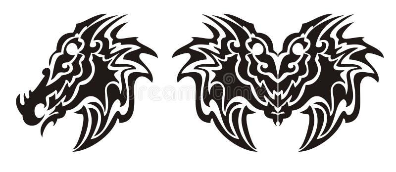 Symbole de tête de dragon et tatouage tribals de papillon de dragon illustration libre de droits