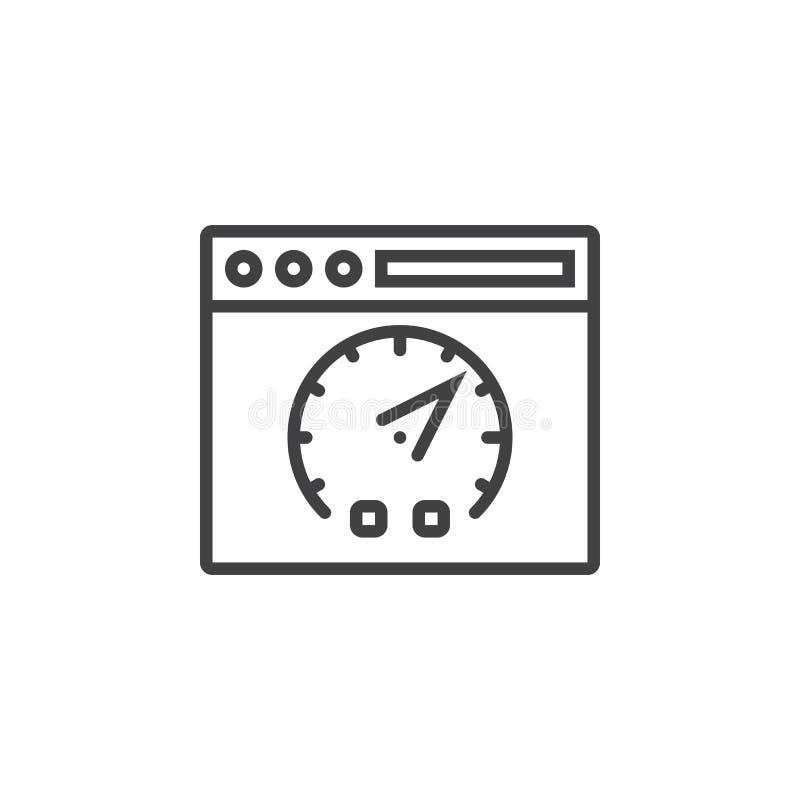 Symbole de test de vitesse de site Web Ligne icône, outl de page Web et de tableau de bord illustration stock