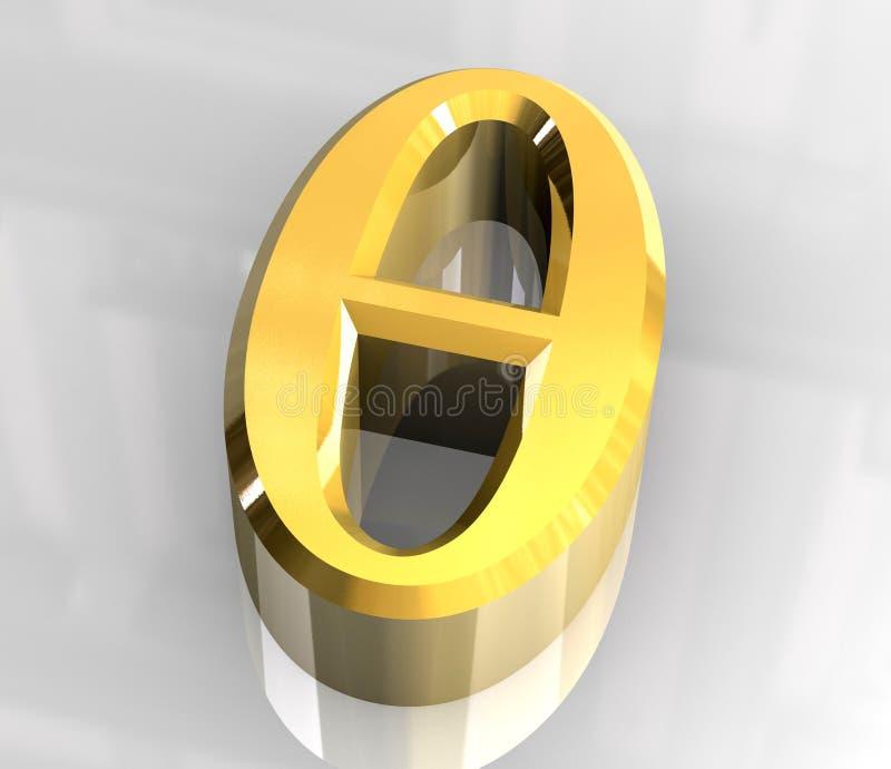 Symbole de thêta en or (3d) illustration libre de droits