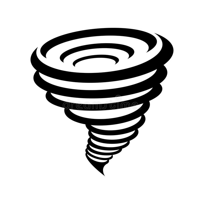 Symbole de tornade d'isolement sur le fond jaune illustration de vecteur
