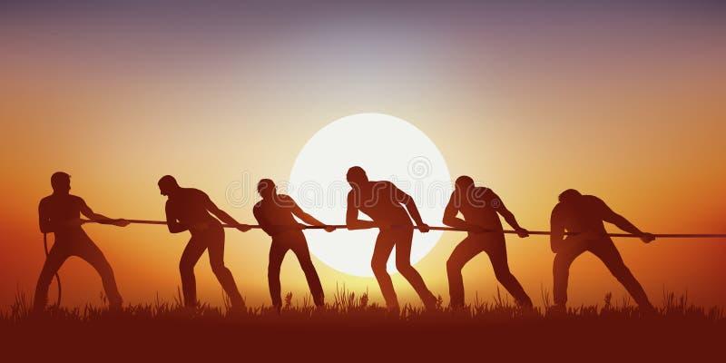 Symbole de travail d'équipe avec un groupe de six cordes de traction d'hommes illustration libre de droits