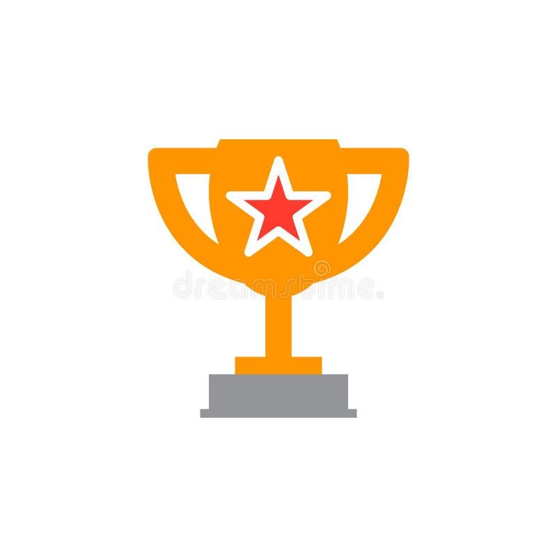 Symbole de trophée de gagnant Tasse affectueuse avec le vecteur d'icône d'étoile, rempli illustration libre de droits