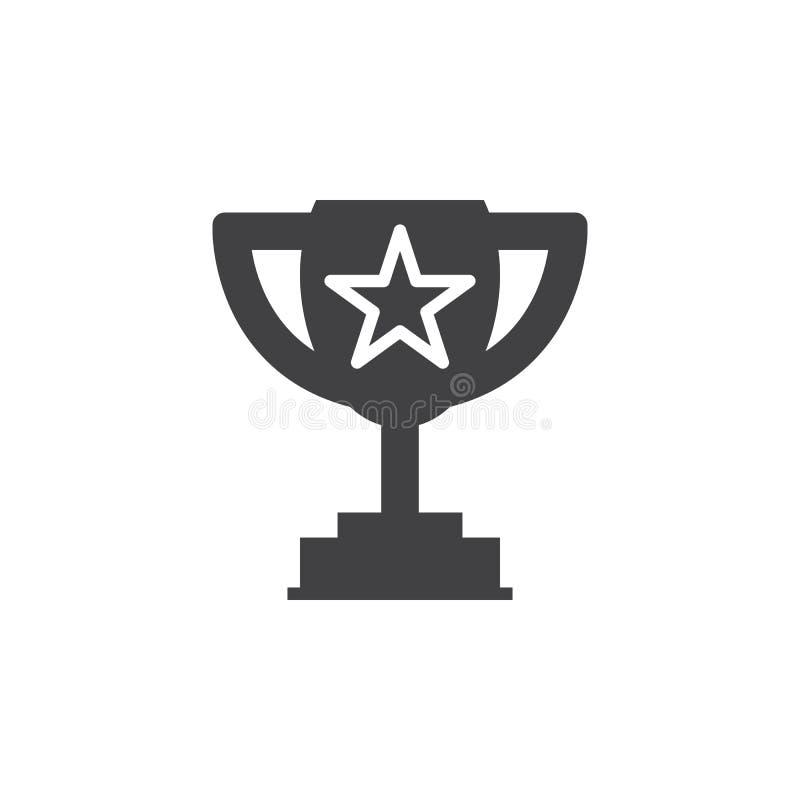 Symbole de trophée de gagnant Tasse affectueuse avec le vecteur d'icône d'étoile, rempli illustration stock
