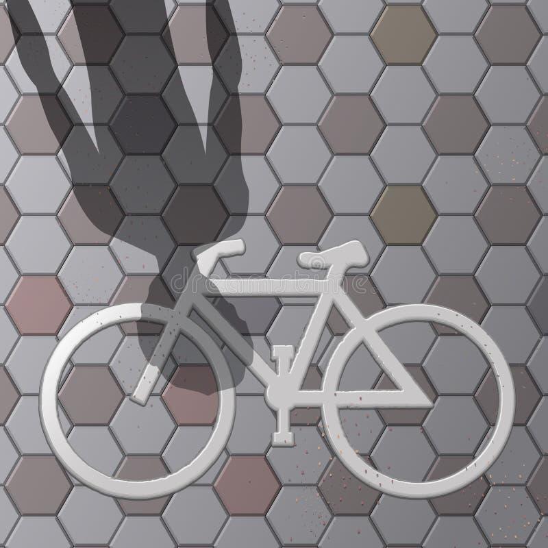 Symbole de vélo sur le vecteur de plancher de bloc images stock