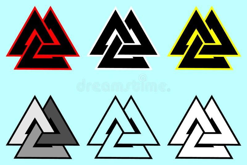 Symbole de Valknut, logo de triangle, illustration libre de droits