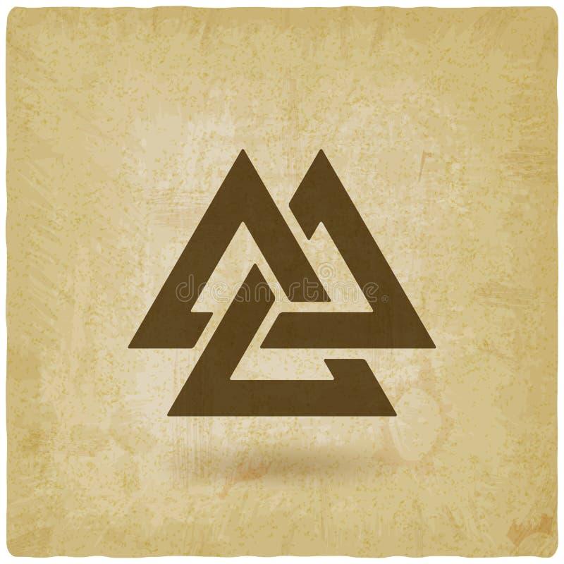 Symbole de Valknut vieux fond enclenché de triangles illustration stock