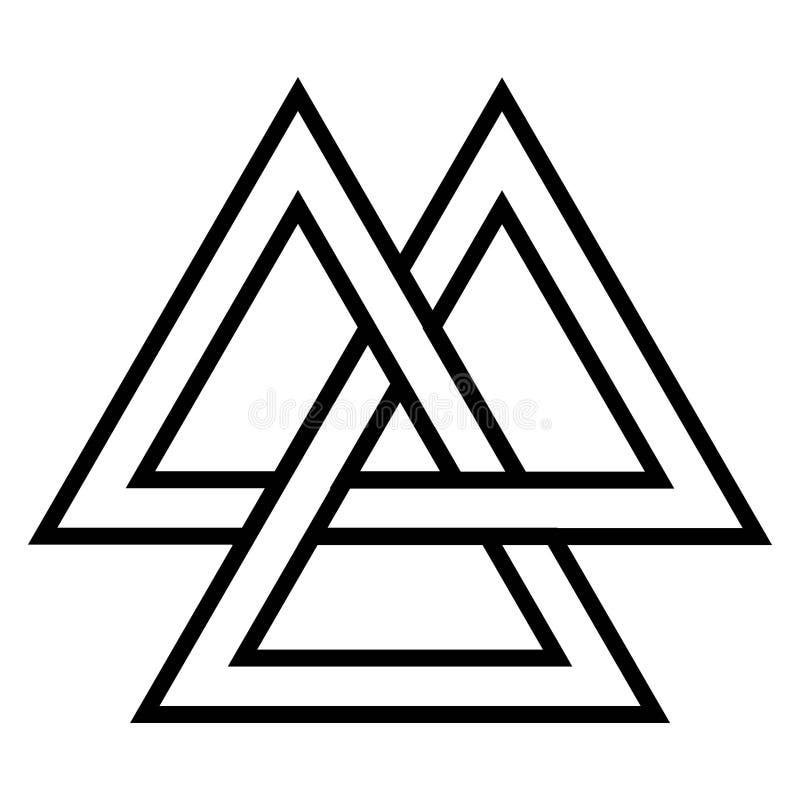 Symbole de Valknut Viking Age, culture de guerrier des norses d'élément de dessin géométrique illustration stock