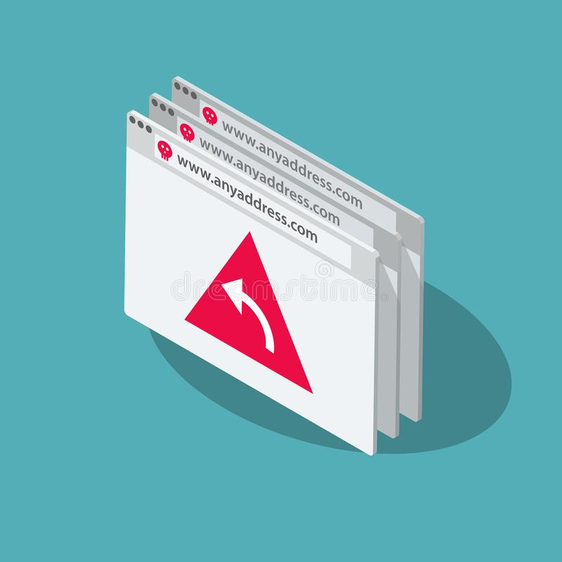 Symbole de vecteur de Pharming avec plusieurs fenêtres du navigateur et un symbole rouge de redirection illustration libre de droits