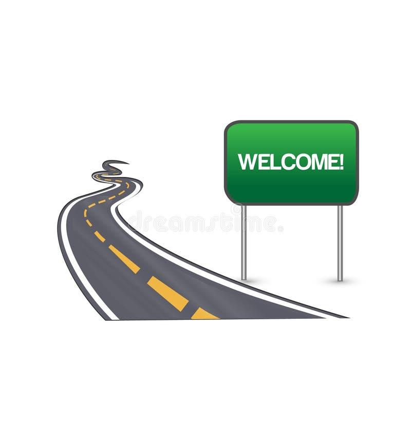 Symbole de vecteur de route de rue et de signe bienvenu illustration stock