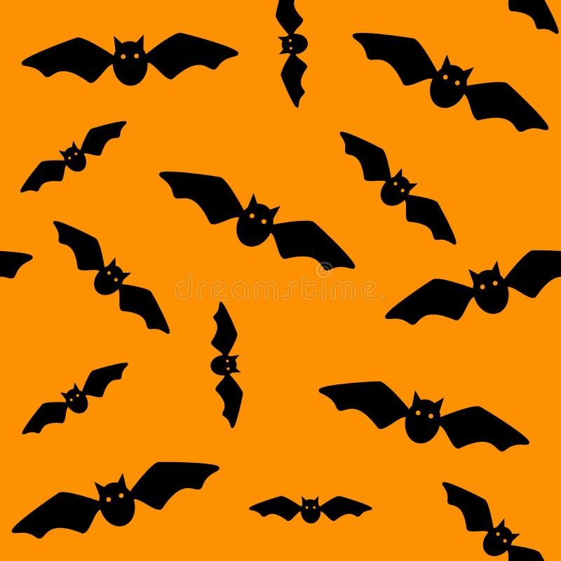 Symbole de Veille de la toussaint Modèle sans couture des battes de vol Battes noires sur le fond orange Silhouette cartoon Illus illustration libre de droits