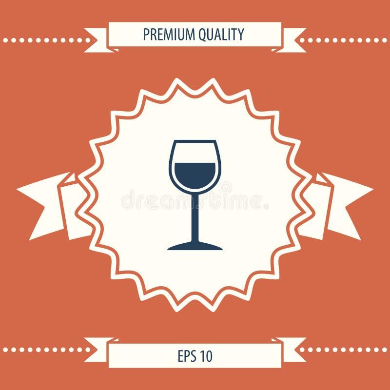 Symbole de symbole de verre à vin illustration stock
