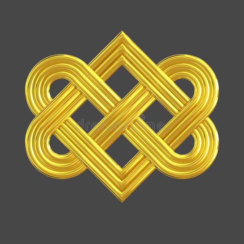 Symbole de verrouillage d'or de noeud de coeur illustration libre de droits