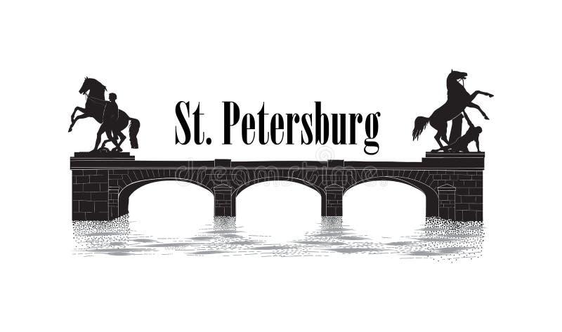 Symbole de ville de St Petersburg, Russie Point de repère de touriste de pont d'Anichov Paysage urbain russe illustration libre de droits