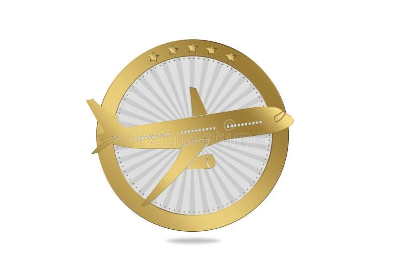 Symbole de voyage/avion/ligne aérienne dans le style de luxe illustration libre de droits