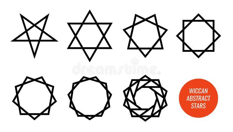 Symbole de Wiccan et tous les étoiles, pentagone étoilé, sexagram et autre polygonaux d'isolement sur blanc - grand ensemble de v illustration de vecteur