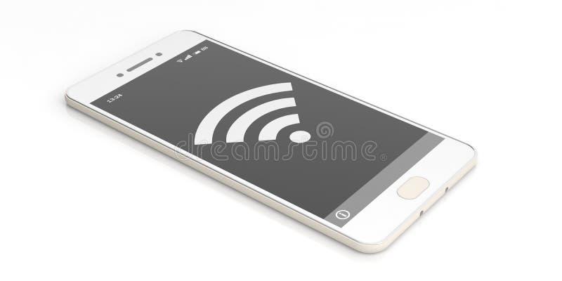 Symbole de Wifi sur un écran de smartphone illustration 3D illustration stock