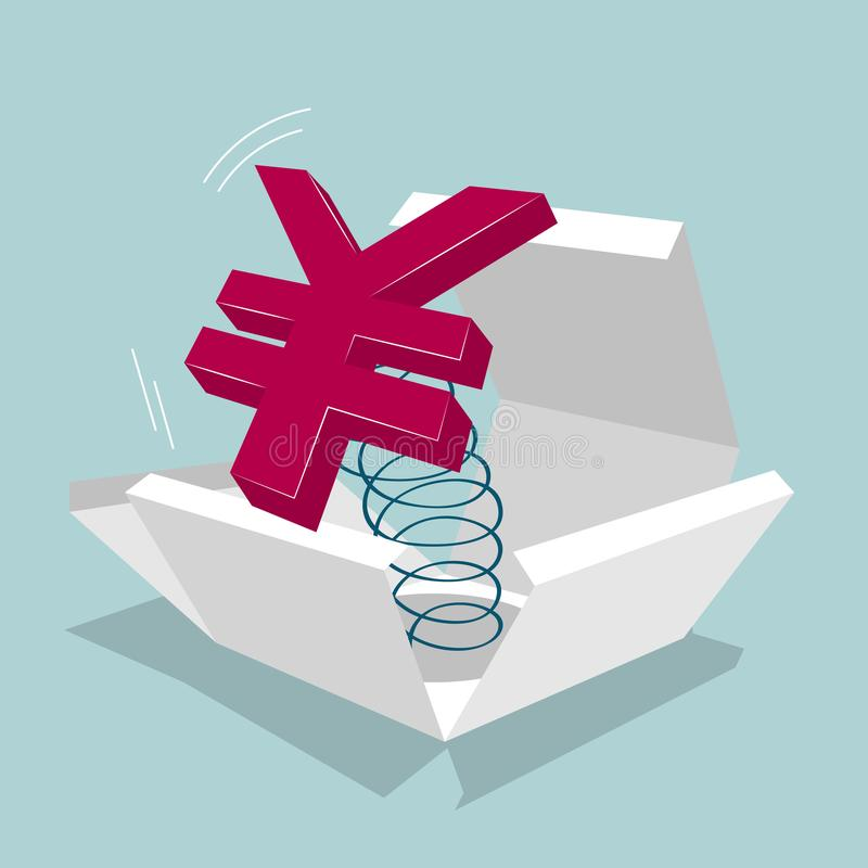 Symbole de yuans dans la boîte illustration libre de droits
