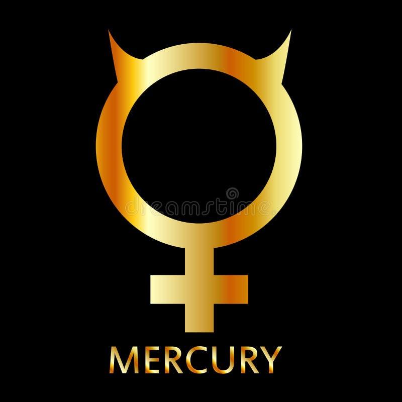 Symbole de zodiaque et d'astrologie de la planète Mercury dans des couleurs d'or illustration stock