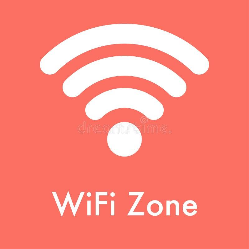 symbole de zone de wifi sur le fond de corail gentil illustration libre de droits