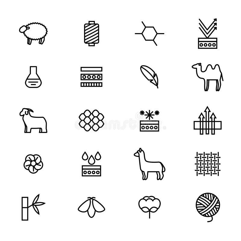 Symbole der Gewebe-Funktion verdünnen Linie Ikonen-Satz Vektor lizenzfreie abbildung