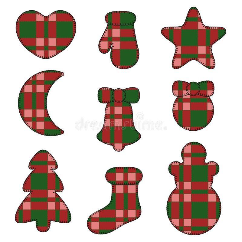 Symbole des neuen Jahres glaubten den Spielwaren, die vom Gewebeschottenstoff hergestellt wurden Satz lokalisierte Gegenstände stock abbildung