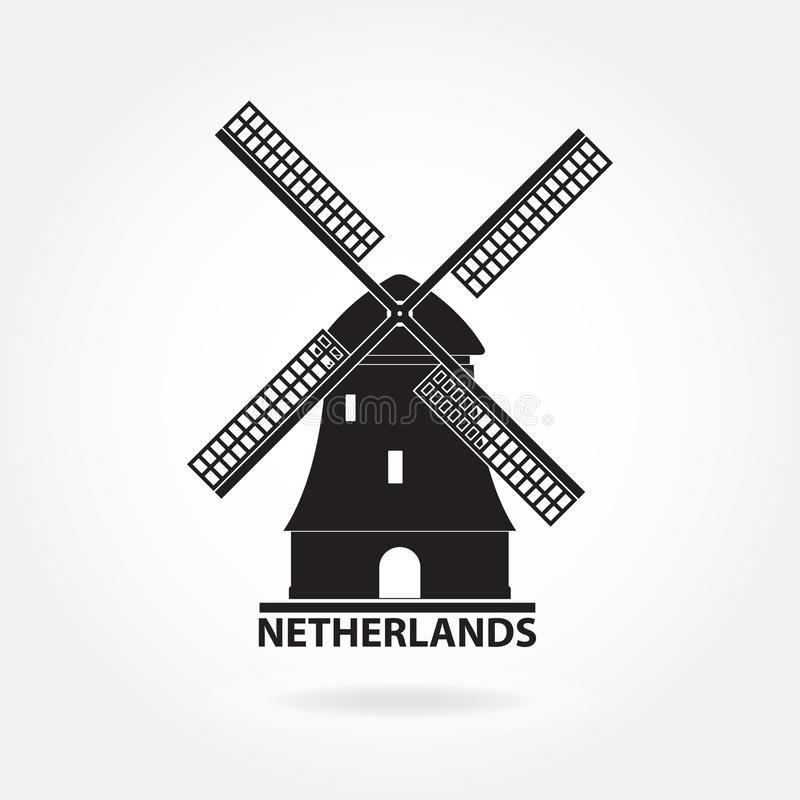 Symbole des Pays-Bas et d'Amsterdam Icône ou signe de moulin à vent d'isolement sur le fond blanc Silhouette de moulin Illustrati image libre de droits