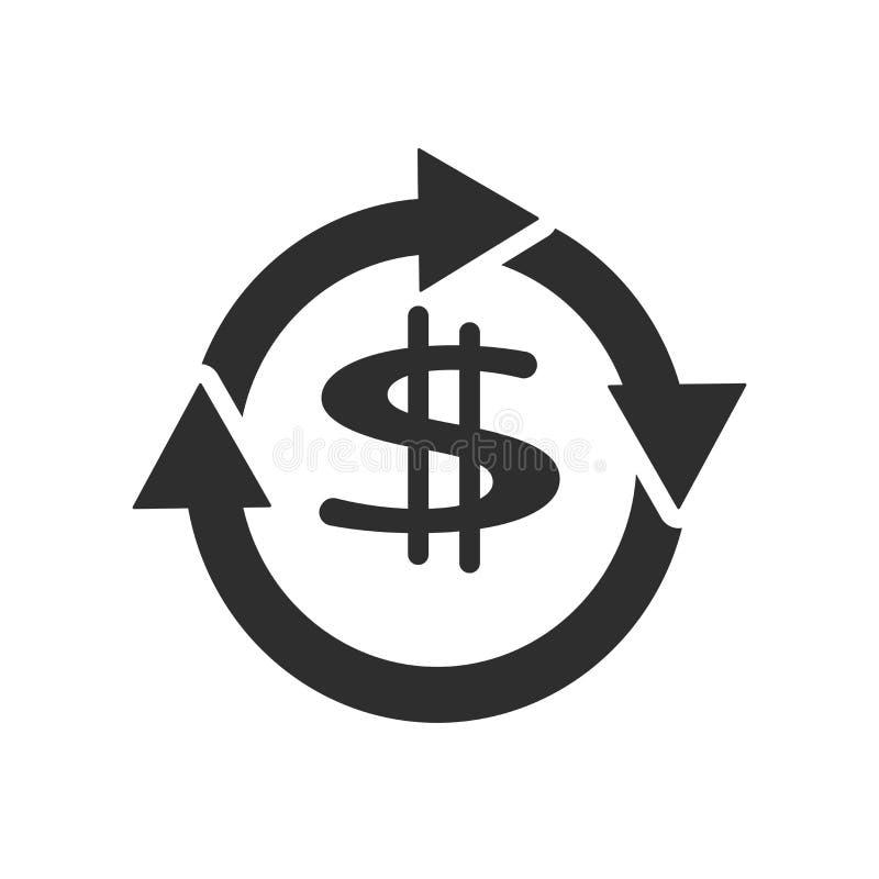 Symbole dollar avec le signe de rotation de vecteur d'icône de flèches et symbole d'isolement sur le fond blanc, symbole dollar a illustration stock