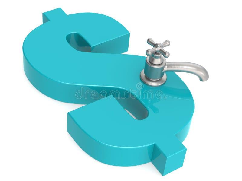 Symbole dollar bleu avec le robinet d'eau illustration de vecteur